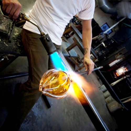 Man Forming Vase with Blowtorch