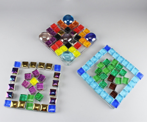 Colorful Glass Mosaic Tiles $5 | Arrange smooth square pieces of colorful glass unto a clear base and make a design of your choice. All ages.